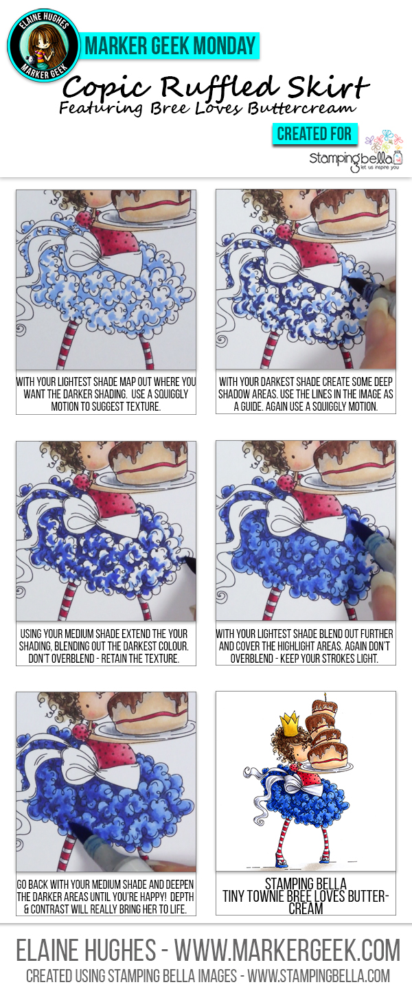 Copic Colouring a Ruffled Skirt by Marker Geek ft Stamping Bella Tiny Townie Bree. Click through to read the article and watch a video!