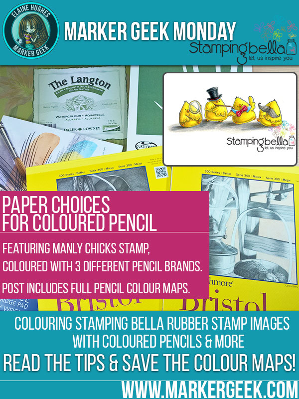 Marker Geek Monday - Choosing Paper for Coloured Pencils feat. Stamping Bella Manly Chicks. Click through to read the blog post and grab some colour combos!