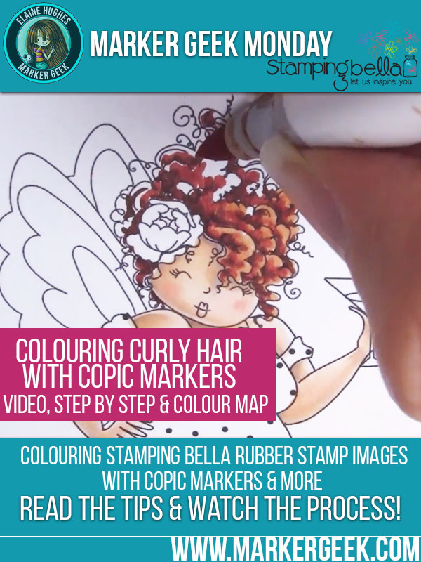 Marker Geek Monday Copic Colouring Easy Curly Hair with Stamping Bella. Click through to read the post and watch a video!