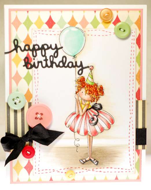 BELLARIFIC FRIDAY CHALLENGE (TINY TOWNIE BIRTHDAY PARTY)- DOTS AND BUTTONS AND SEQUINS on cards