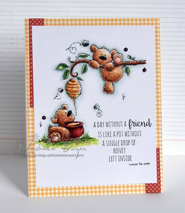 Bellarific Friday challenge at Stamping Bella- USING HONEY BEAR STUFFIES our stamp of the month for AUGUST 2016! 20% off all month long