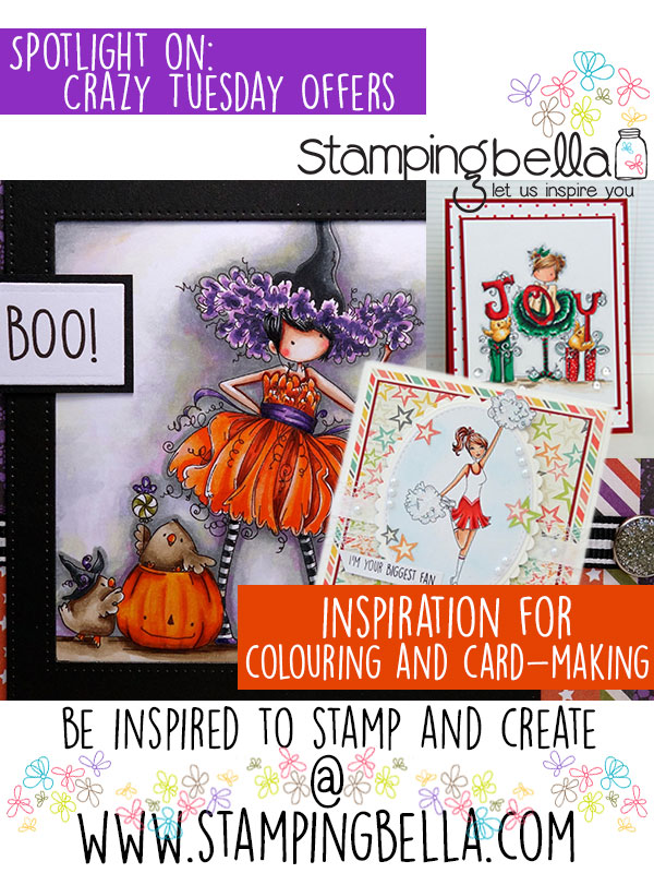 Spotlight On Crazy Tuesday Sept Rubber Stamps at Stamping Bella. Click through to read the post for card making inspiration!