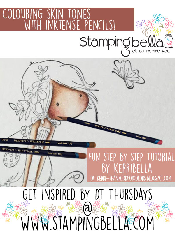 Stamping Bella Colouring Skin with Derwent Inktense Pencils Tutorial. Click through for the step by step guide!