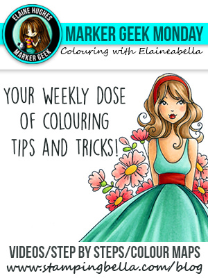 Click through to read the Marker Geek Monday posts, watch videos and get colour combos for colouring Stamping Bella stamps!