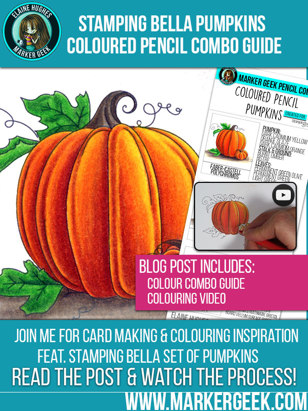 Marker Geek - Colouring Pumpkins with Coloured Pencils. Click through for video and pencil combo guide!