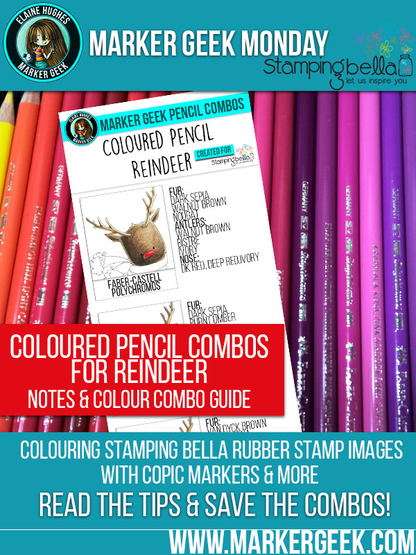 Marker Geek Monday - Colouring Reindeer with Coloured Pencils. Click through to read the blog post!
