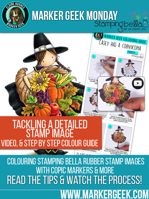 Stamping Bella Casey has a Cornucopia. Card by Elaine - Marker Geek. Click through to read the blog post and get colouring tips & tricks!
