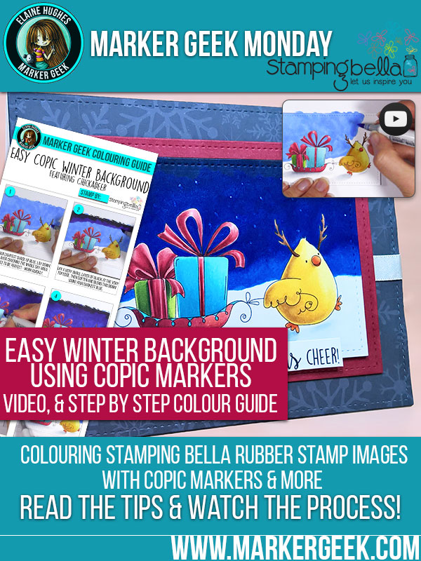 Marker Geek Monday: Colour an Easy Winter Background using Copic Markers. Click through to read the post, watch the video and check out the step by step guide!