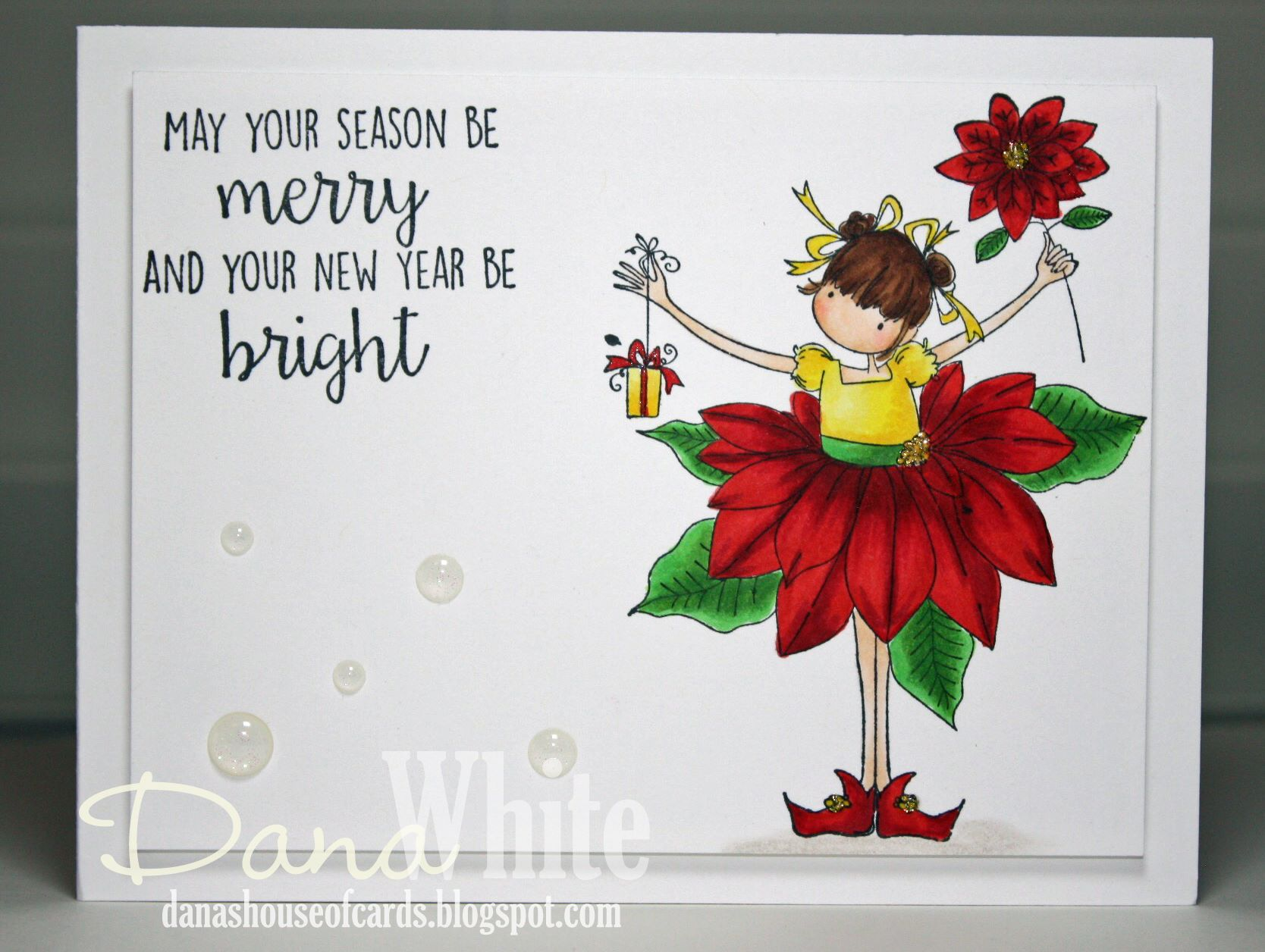 Bellarific Friday DEC 16, 2016- TINY TOWNIE PAMELA the POINSETTIA rubber stamp