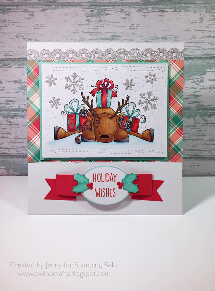 Bellarific Friday DECEMBER 9th 2016-Rudolph with a PREZZIE on top RUBBER STAMP