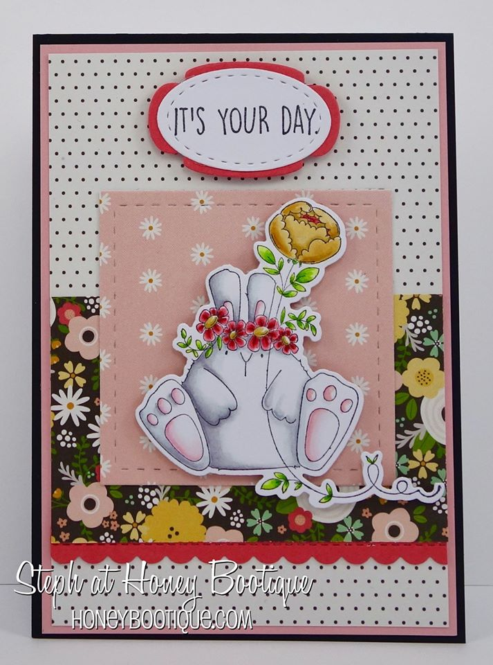 tBellarific Friday DECEMBER 9th 2016-THE BUNNY WOBBLE and the PEONY  RUBBER STAMP