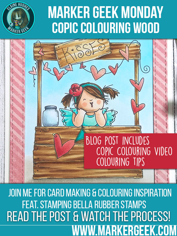 Marker Geek Monday - Copic Coloring Wood with Kissing Booth Squidgy at Stamping Bella! Click through for video and tips.