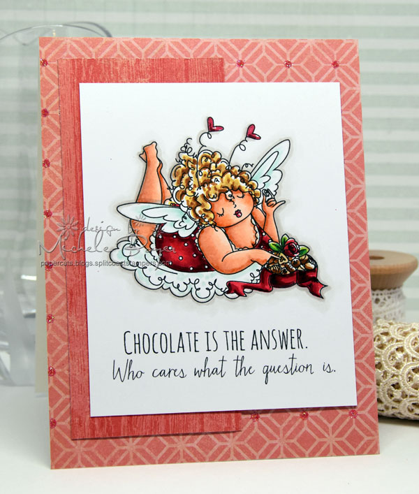 Stamping Bella JANUARY 2017 rubber stamp release- Edna loves CHOCOLATE card by Michele Boyer