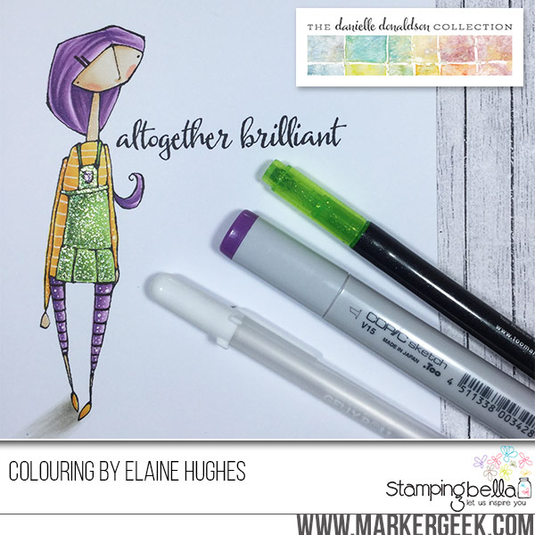 Stamping Bella rubber stamps featuring the Danielle Donaldson collection-ALTOGETHEREVELYN sample made by Elaine Hughes
