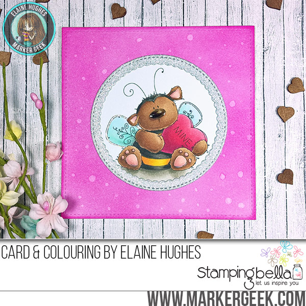 Stamping Bella JANUARY 2017 rubber stamp release- BEE MINE CARD by ELAINE HUGHES