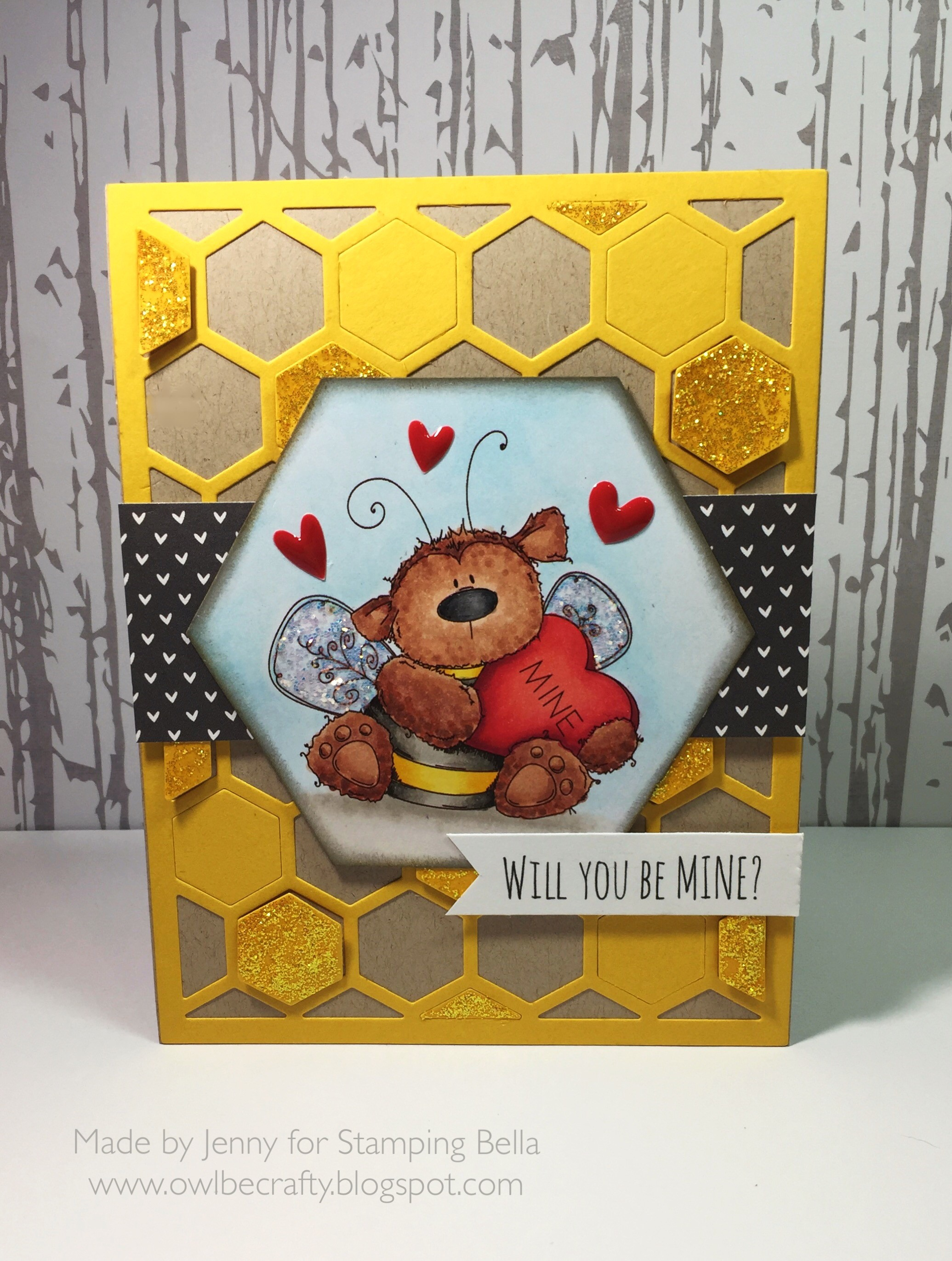 Stamping Bella JANUARY 2017 rubber stamp release- BEE MINE card by Jenny Bordeaux