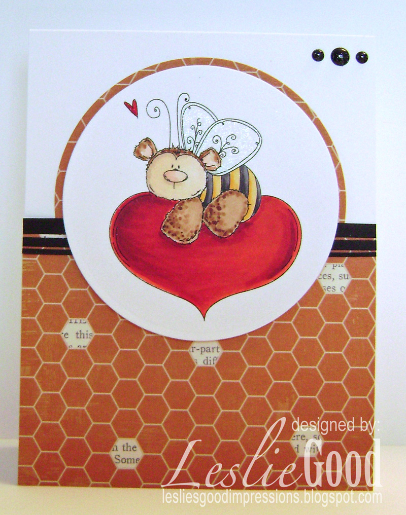 Stamping Bella JANUARY 2017 rubber stamp release- THE BEE AND THE HEART card