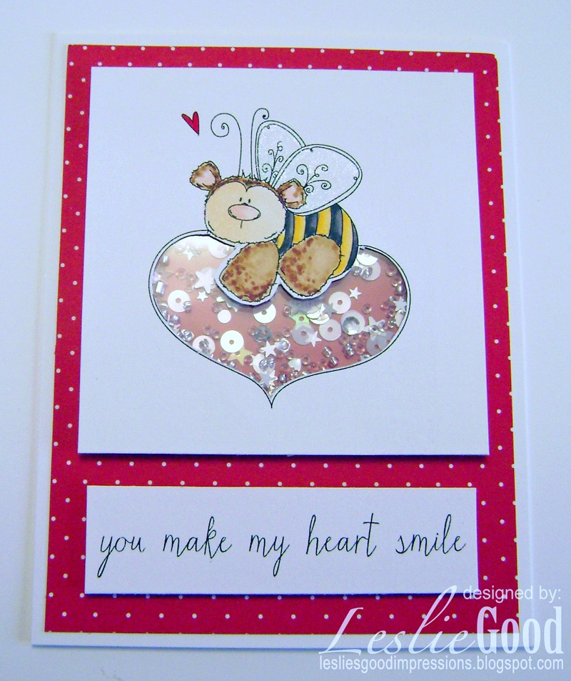 Stamping Bella JANUARY 2017 rubber stamp release- THE BEE AND THE HEART card by Lesliebella