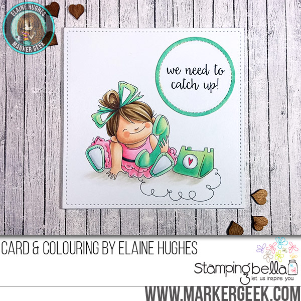 Stamping Bella JANUARY 2017 rubber stamp release- Chatty Squidgy card by Elaine Hughes