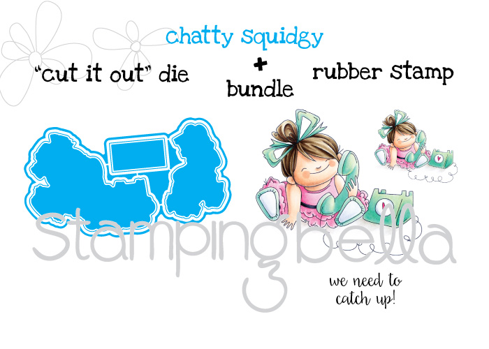 Stamping Bella JANUARY 2017 rubber stamp release- Chatty Squidgy CUT IT OUT and RUBBER STAMP BUNDLE
