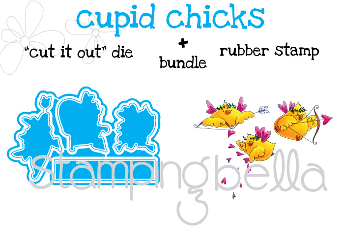 Stamping Bella JANUARY 2017 rubber stamp release- CUPID CHICKS BUNDLE