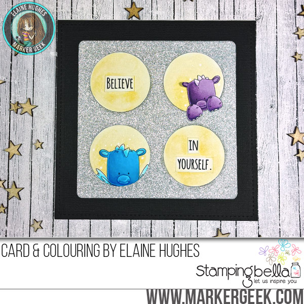 Stamping Bella JANUARY 2017 rubber stamp release-SET OF DRAGONS card by Elaine Hughes