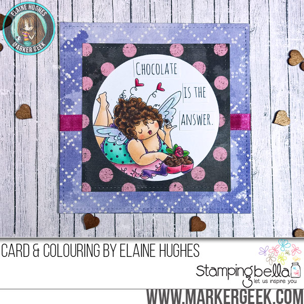 Stamping Bella JANUARY 2017 rubber stamp release- Edna loves CHOCOLATE card by Elaine Hughes
