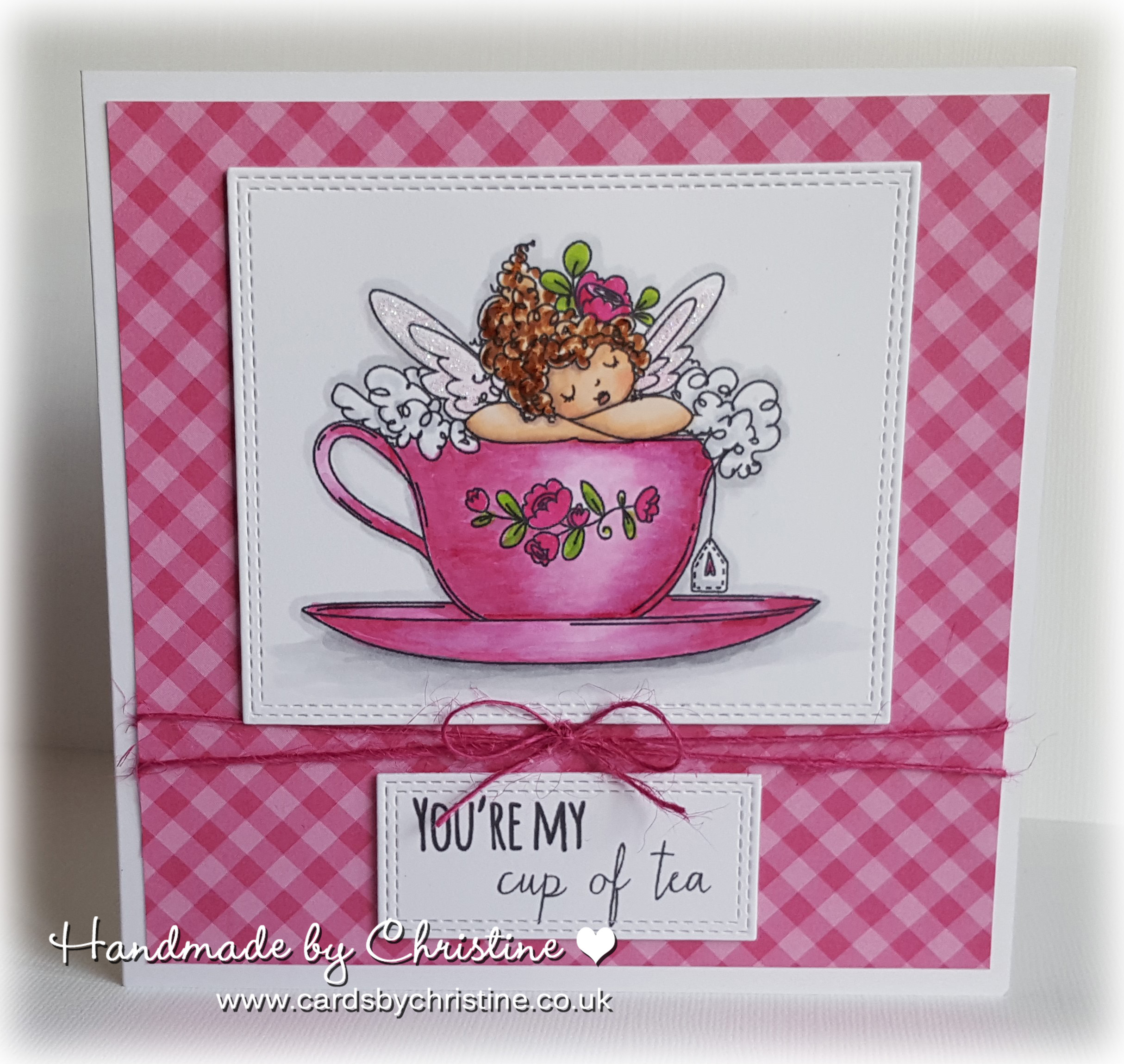 Stamping Bella JANUARY 2017 rubber stamp release-Edna's CUP OF TEA card by Christine Levison