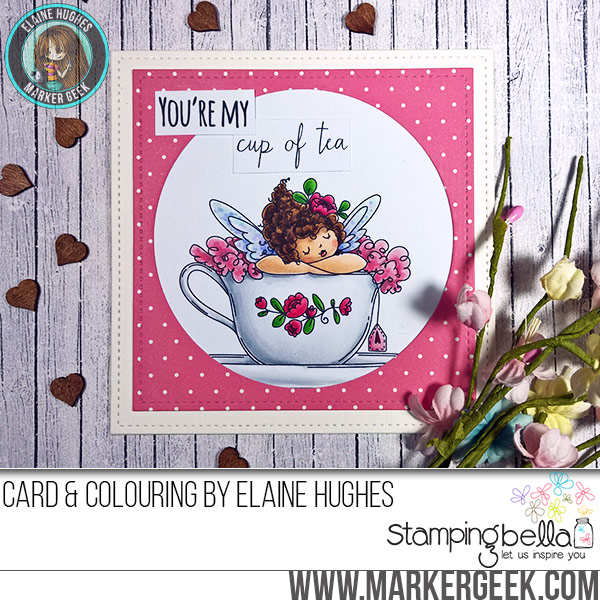 Stamping Bella JANUARY 2017 rubber stamp release-Edna's CUP OF TEA card by Elaine Hughes