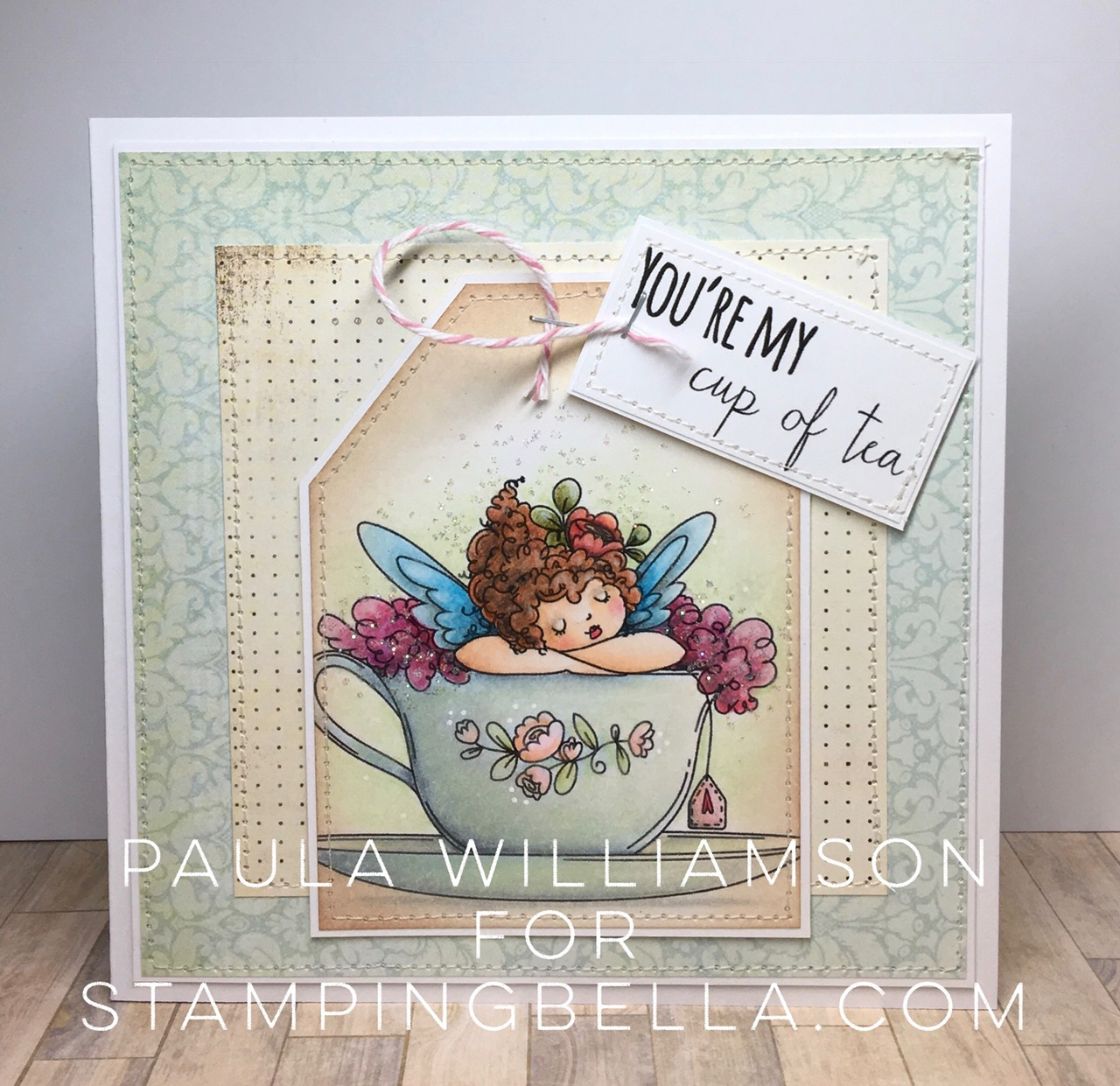 Stamping Bella JANUARY 2017 rubber stamp release-Edna's CUP OF TEA card by Paula Williamson