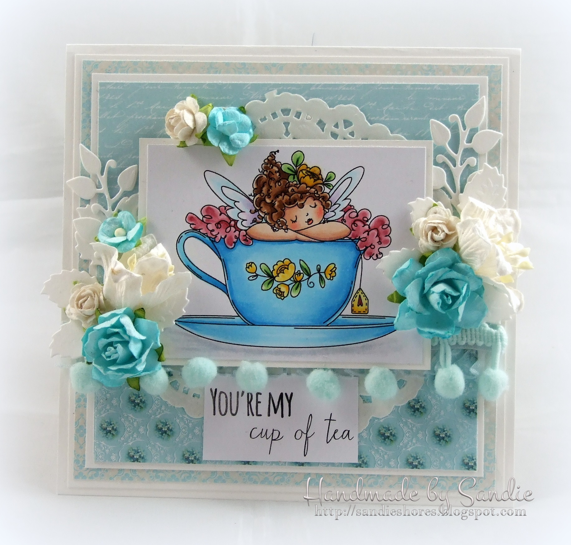Stamping Bella JANUARY 2017 rubber stamp release-Edna's CUP OF TEA card by Sandie Dunne