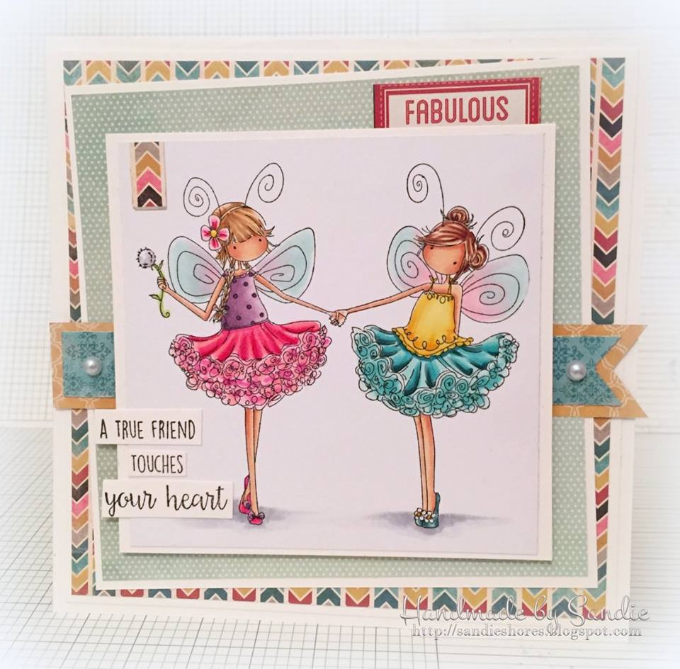 Bellarific Friday challenge Jan. 20 2017- friendship theme- TINY TOWNIE FAIRY BEST FRIENDS CARD by Sandie Dunne