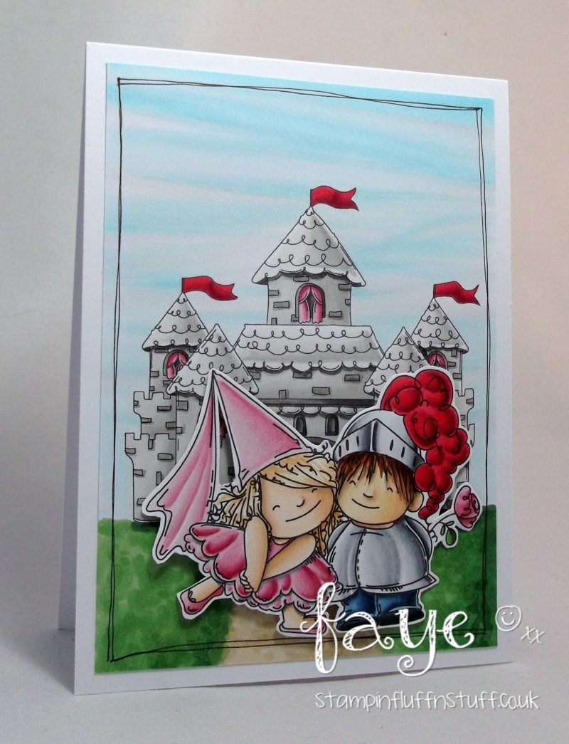 Stamping Bella JANUARY 2017 rubber stamp release-FAIRY TALE SQUIDGIES + SQUIDGY CASTLE card by FAYE WYNN JONES