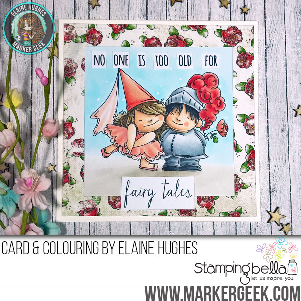 Stamping Bella JANUARY 2017 rubber stamp release-FAIRY TALE SQUIDGIES card by Elaine Hughes