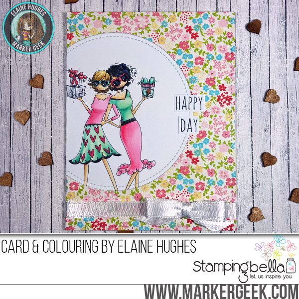 Stamping Bella JANUARY 2017 rubber stamp release- UPTOWN GALENTINE girls card by Elaine Hughes