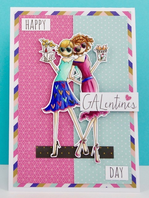 Stamping Bella JANUARY 2017 rubber stamp release- UPTOWN GALENTINE girls card by Stephabella