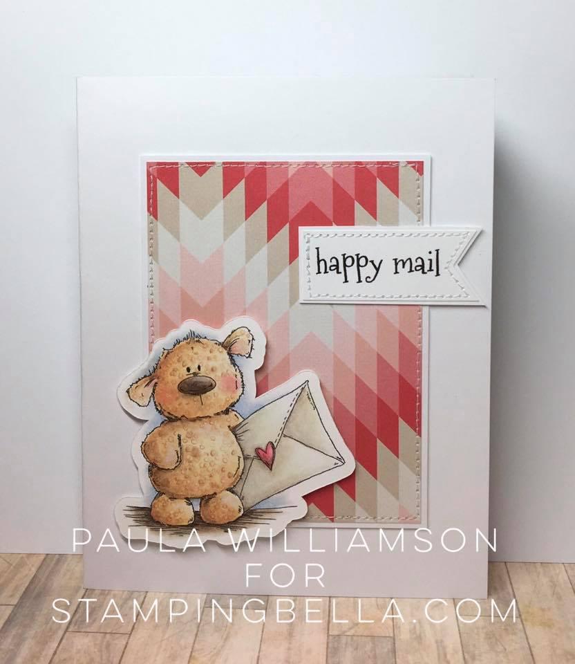 Bellarific Friday January 27th 2017-PHOTO INSPIRATION CHALLENGE- Harry the HAPPY MAIL sutffie card by PAULA WILLIAMSON