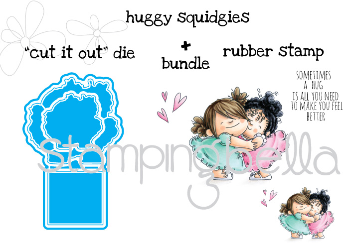 Stamping Bella JANUARY 2017 rubber stamp release- HUGGY SQUIDGIES cut it out die and rubber stamp bundle