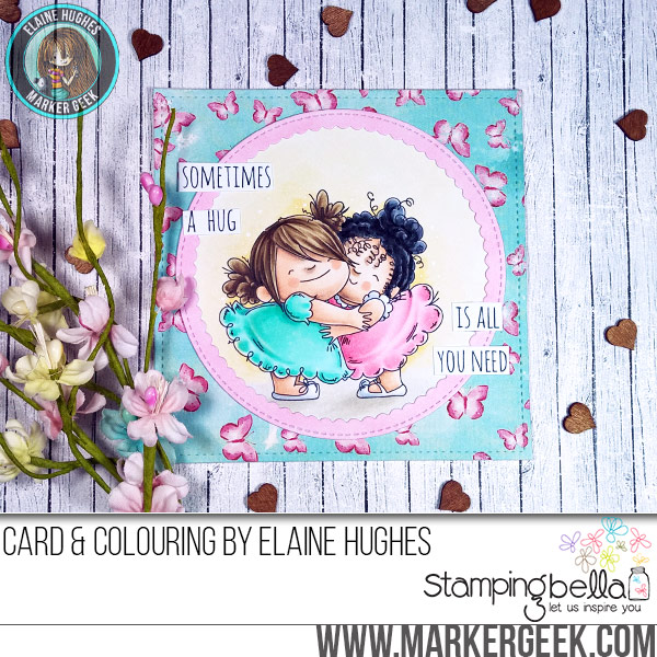 Stamping Bella JANUARY 2017 rubber stamp release- HUGGY SQUIDGIES card by Elaine Hughes