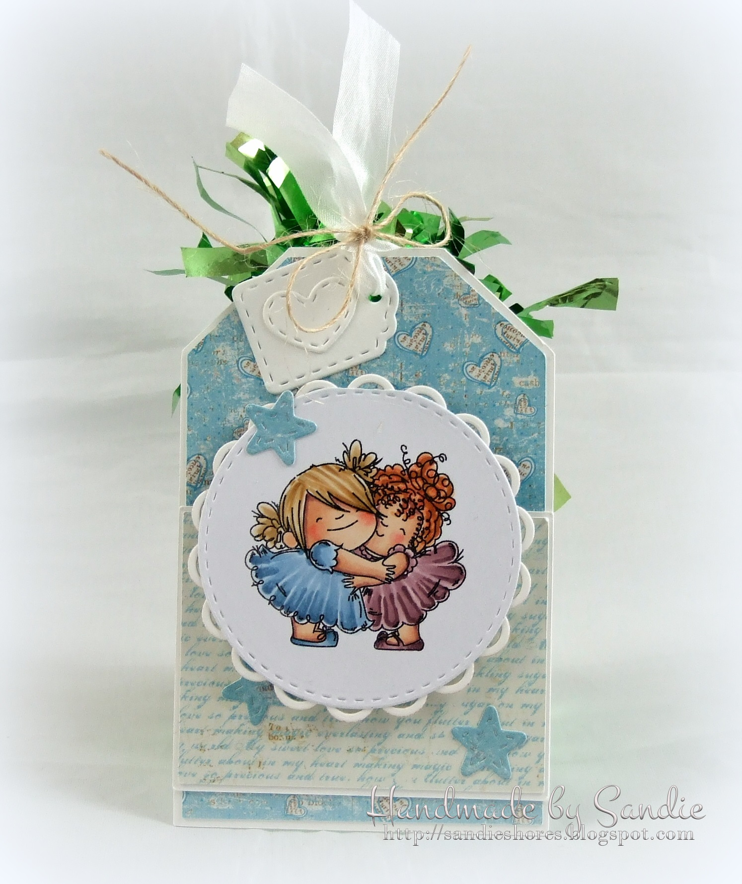 Stamping Bella JANUARY 2017 rubber stamp release- HUGGY SQUIDGIES tag by Sandie Dunne