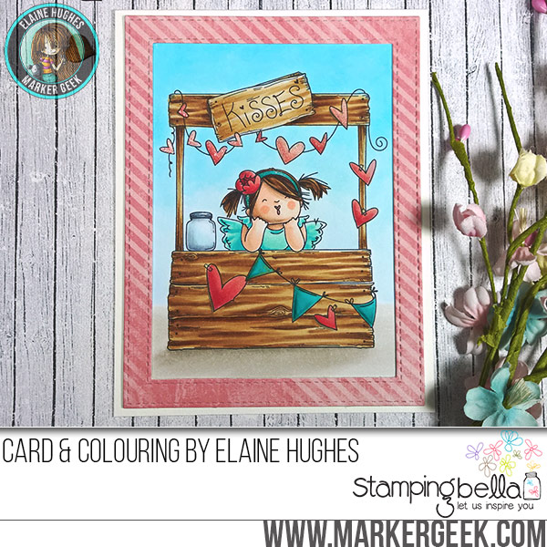Stamping Bella JANUARY 2017 rubber stamp release-Kissing Booth Squidgy card by Elaine Hughes