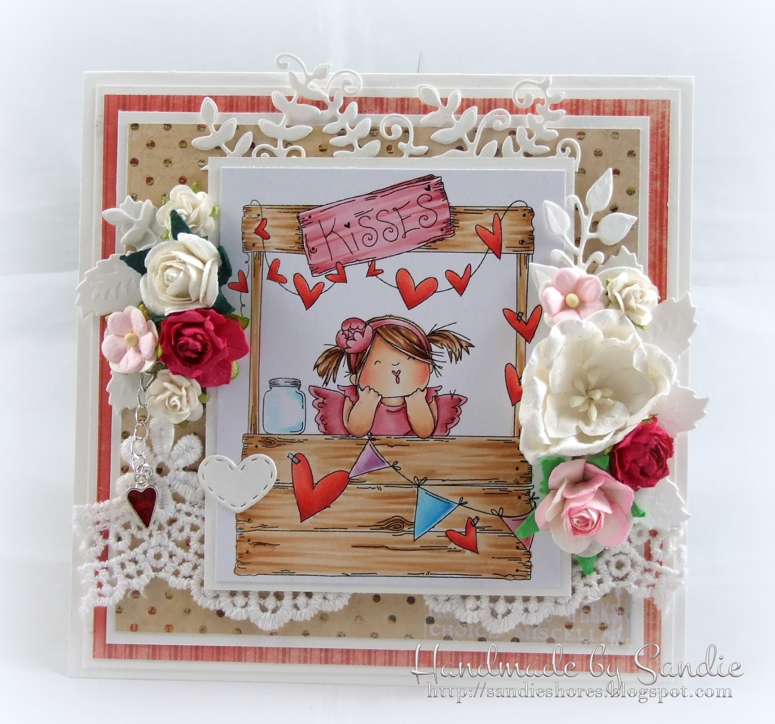 Stamping Bella JANUARY 2017 rubber stamp release- Kissing Booth SQUIDGIES card by Sandie Dunne