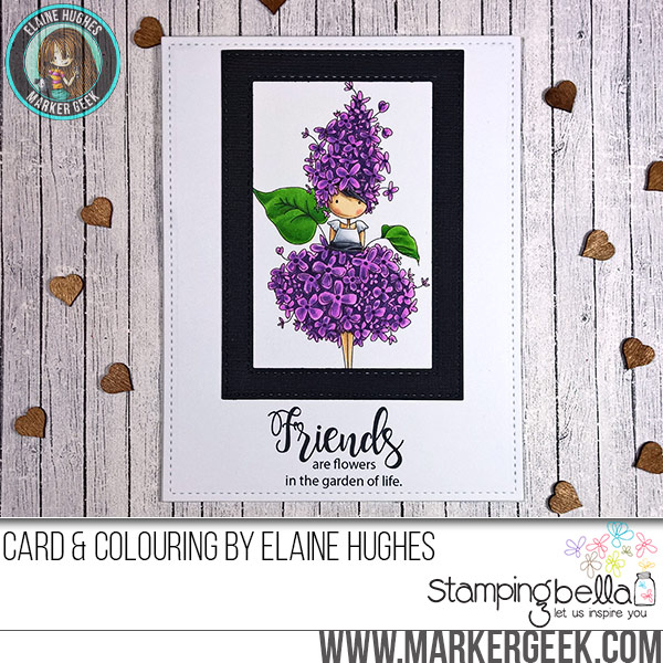 Stamping Bella JANUARY 2017 rubber stamp release-Tiny Townie Garden Girl Lilac card by Elaine Hughes