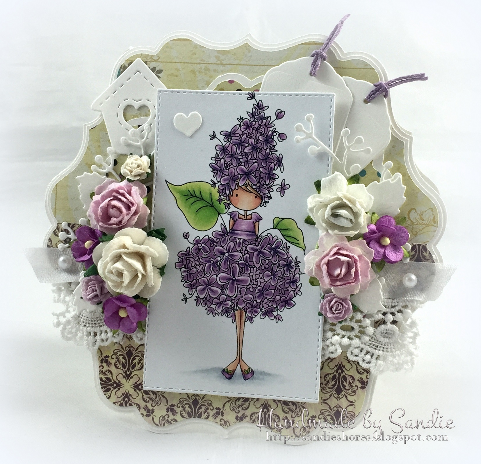 Stamping Bella JANUARY 2017 rubber stamp release- Tiny Townie GARDEN GIRL LILAC card by Sandie Dunne