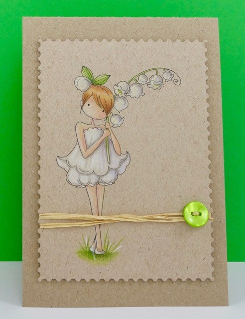Stamping Bella JANUARY 2017 rubber stamp release-Tiny Townie Garden Girl LILY OF THE VALLEY card by Stephanie Hill