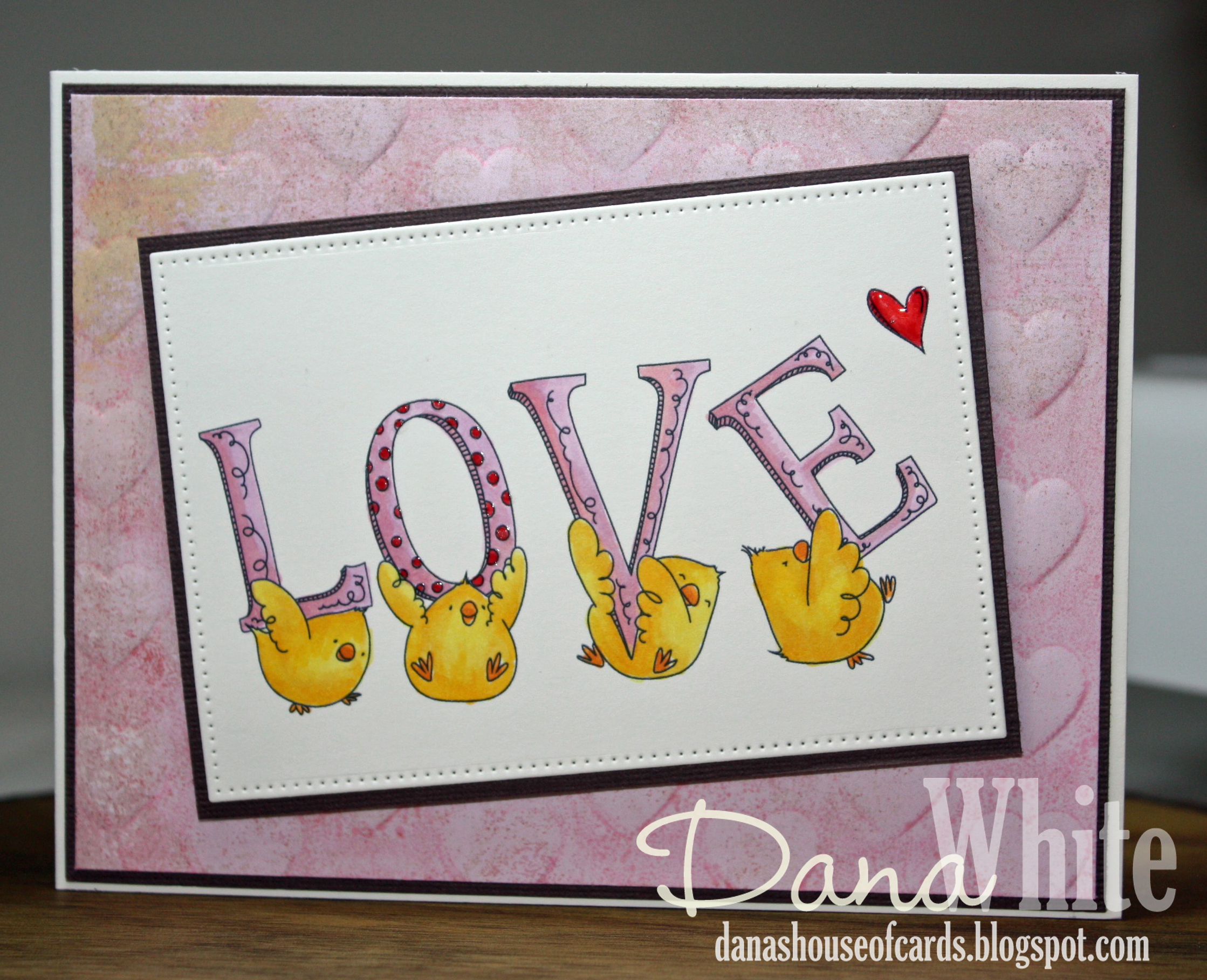 Stamping Bella JANUARY 2017 rubber stamp release- LOVE chicks card by Dana White
