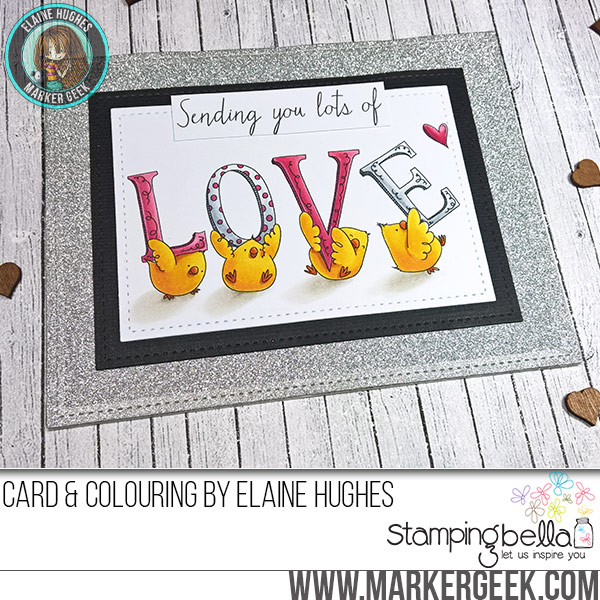 Stamping Bella JANUARY 2017 rubber stamp release- LOVE chicks card by Elaine Hughes