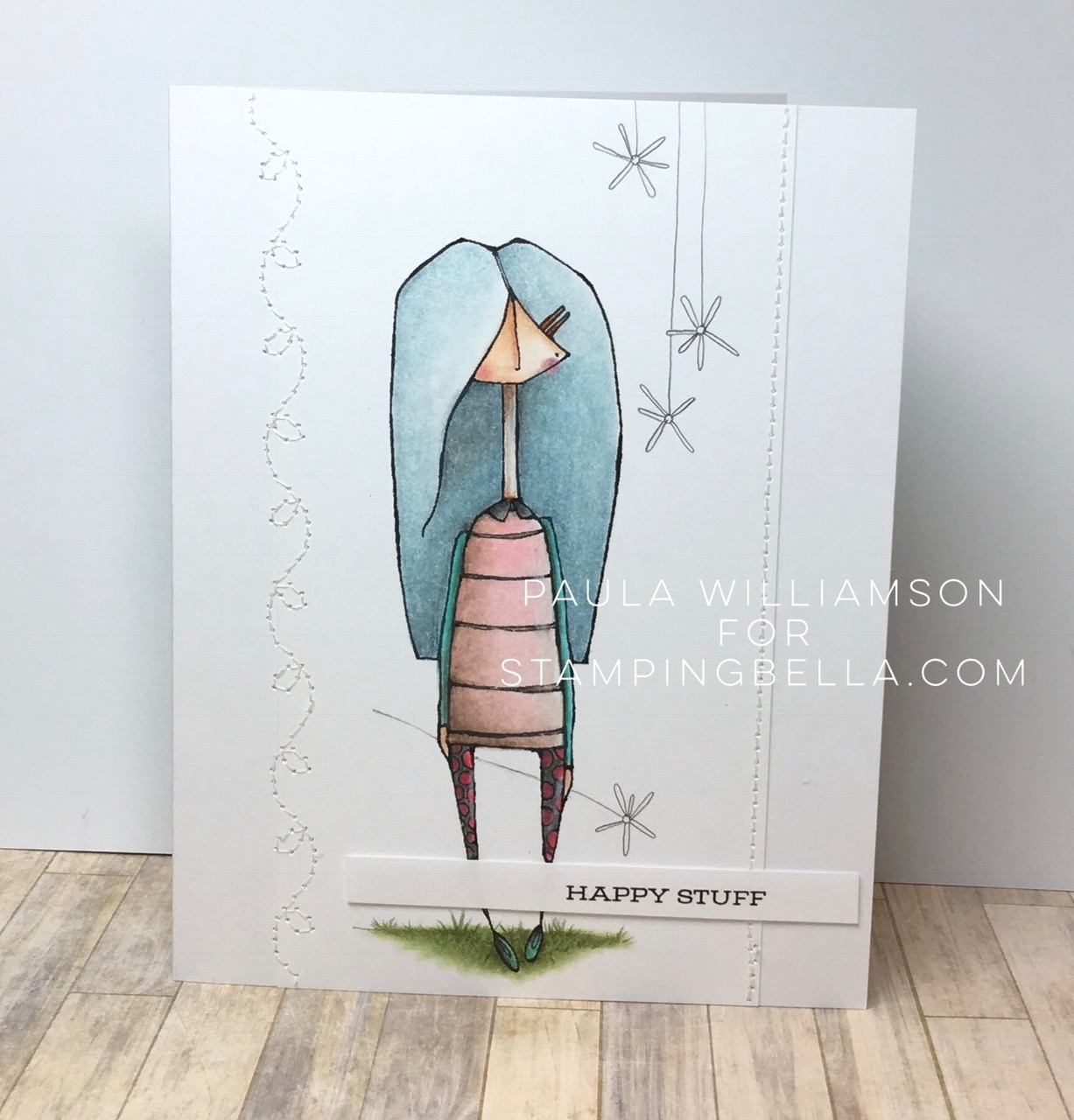 Danielle Donaldson new range of rubber stamps by STAMPINGBELLA- mostlynaomi card by Paula Williamson