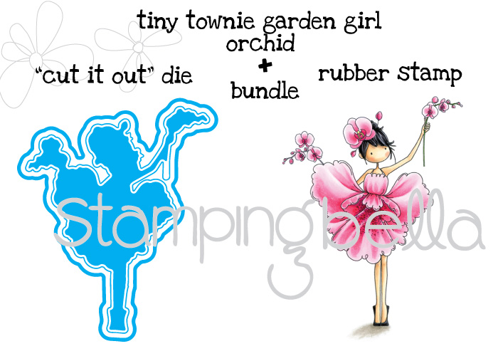 Stamping Bella JANUARY 2017 rubber stamp release- Tiny Townie Garden Girl ORCHID CUT IT OUT DIE and RUBBER STAMP BUNDLE