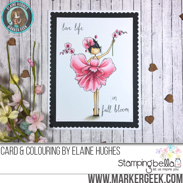 Stamping Bella JANUARY 2017 rubber stamp release- Tiny Townie Garden Girl ORCHID card by Elaine Hughes